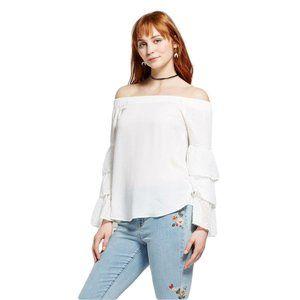 NWT Ruffle Sleeve Off Shoulder Blouse White Large